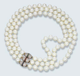 A CULTURED PEARL AND GEM-SET N
