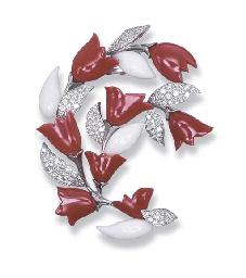 A CORAL AND DIAMOND 'CARDAMINE