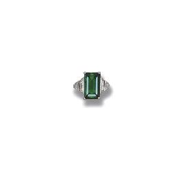 A FINE EMERALD AND DIAMOND RIN