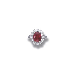 A FINE RUBY CLUSTER RING