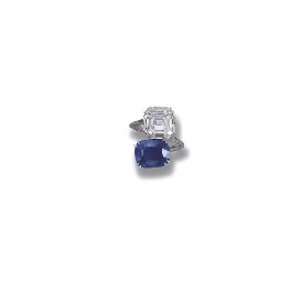 A SAPPHIRE AND DIAMOND CROSS-O