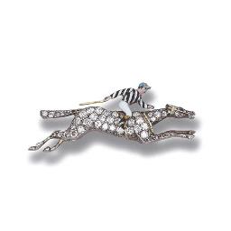 A DIAMOND AND ENAMEL 'JOCKEY'