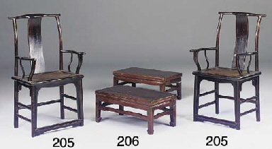 A pair of Chinese lacquer armc