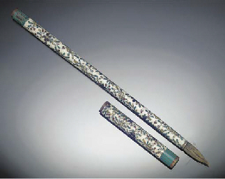 A cloisonne brush and cover, 1