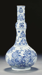 A blue and white bottle vase,