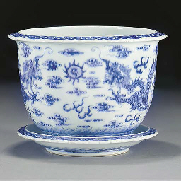 A blue and white jardiniere an