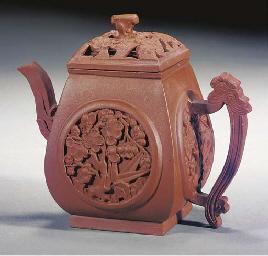 An Yixing teapot and pierced c