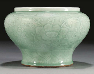 A pale celadon glazed squat ba