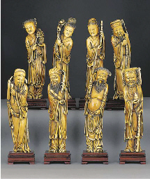 A set of eight stained ivory c