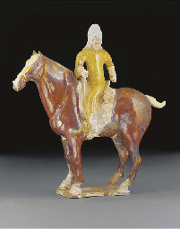 A Tang painted pottery equestr