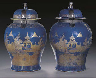 A pair of powder blue glazed t