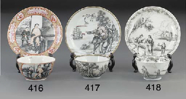 A grisaille teabowl and saucer