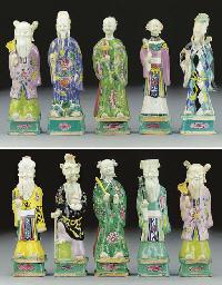 Ten famille rose models of sta