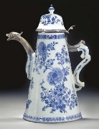 A silver-mounted blue and whit