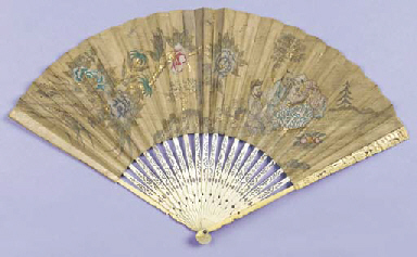 A fine fan, the leaf painted i