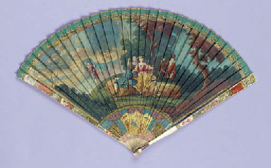 A painted ivory brise fan, the