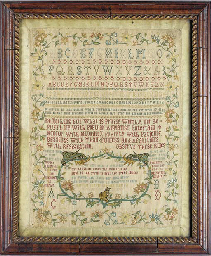 A fine sampler by Mary ? 1755,
