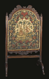 A needlework firescreen, worke