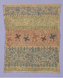 A band sampler, worked in colo