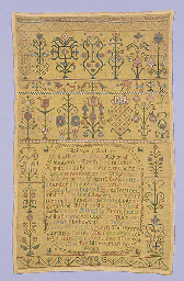 A sampler dated 1744, worked i