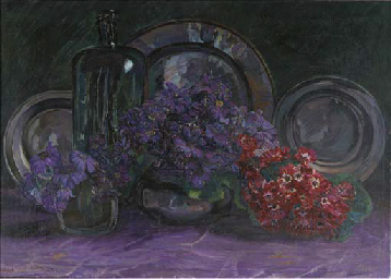 A still life with anemones, a