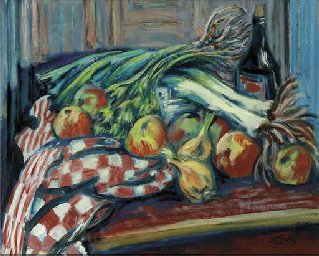 A still life with apples, vege
