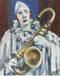 Clown with saxophone