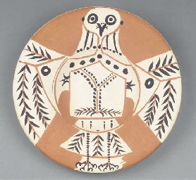 White owl on red ground (Ramié