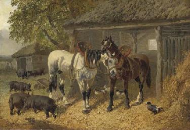 Horses, pigs and ducks in a fa