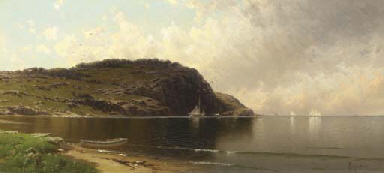Seascape with Dory and Sailboa