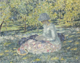 Woman Seated in a Park with Ba