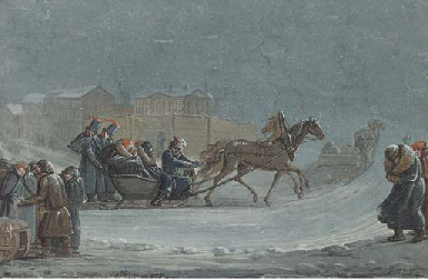 Horse drawn Sleigh in a Winter