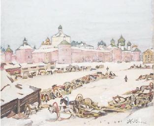 Winter market by the Kremlin