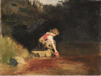 A young girl at a stream