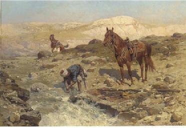 Horsemen at a River