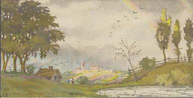Miniature landscape with rainb