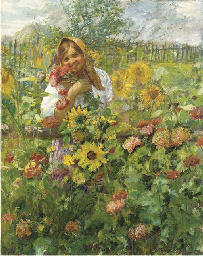 Girl in a Flower Garden
