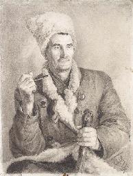 Portrait of man in a shapka, w