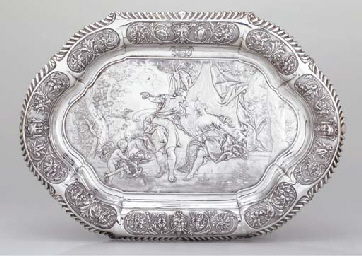 A large William IV silver tray