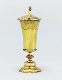 A Swiss silver-gilt cup and co