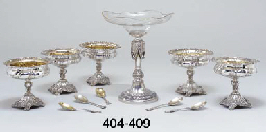A German silver and glass dess
