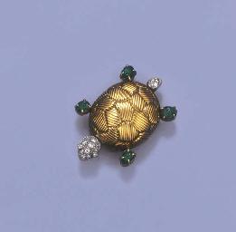 AN EMERALD AND DIAMOND TURTLE