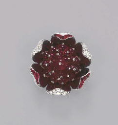 A RUBY AND DIAMOND FLORAL BROO