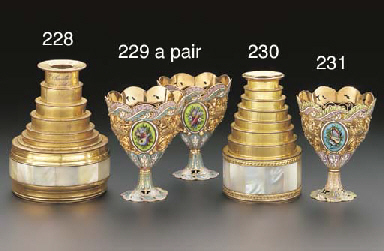A PAIR OF SWISS ENAMELLED GOLD