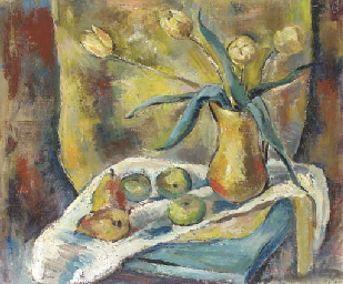 Still Life with Tulips and Pea