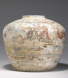 A PAINTED GREY POTTERY JAR,