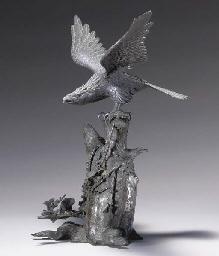 A Bronze Figure Of A Hawk