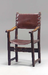 A SPANISH WALNUT ARMCHAIR,