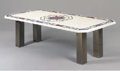 A METAL AND LAPIS-INLAID DININ