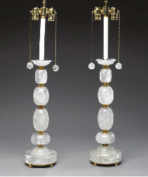 A PAIR OF ROCK CRYSTAL AND ORM